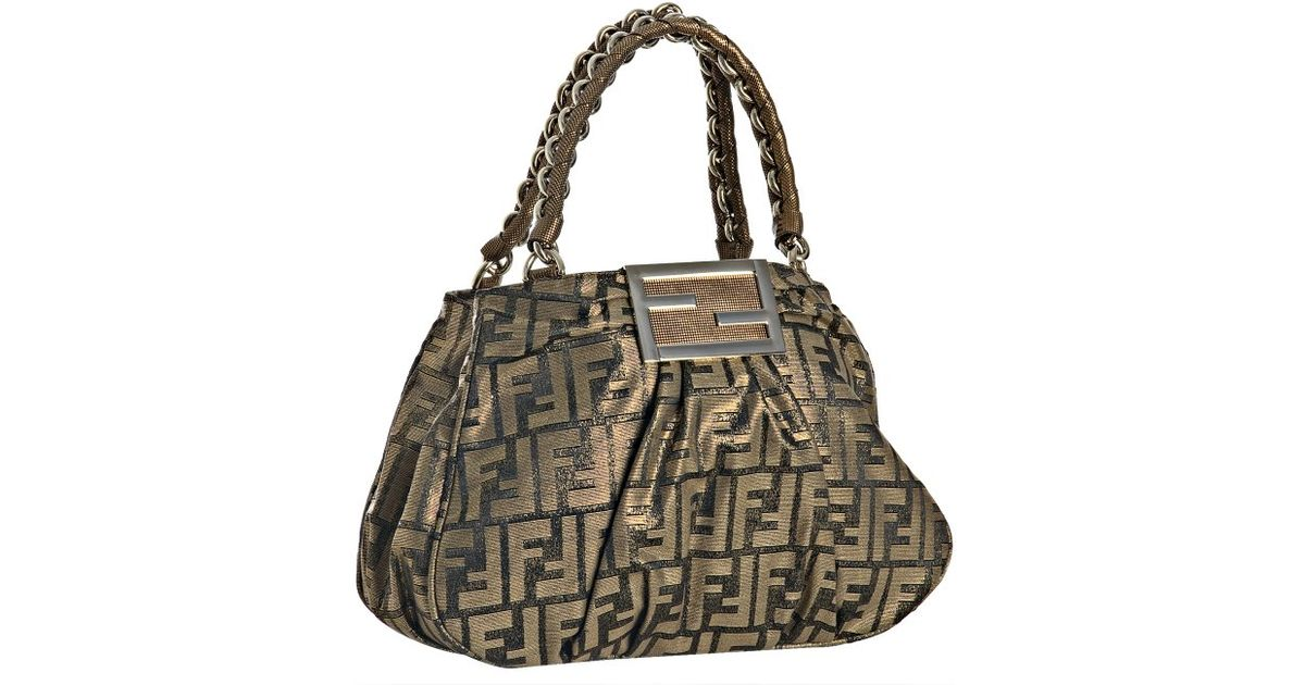 2c525f88a44 ... good fendi hobo bag lyst fendi tobacco and gold zucca mia small chain  bag in brown