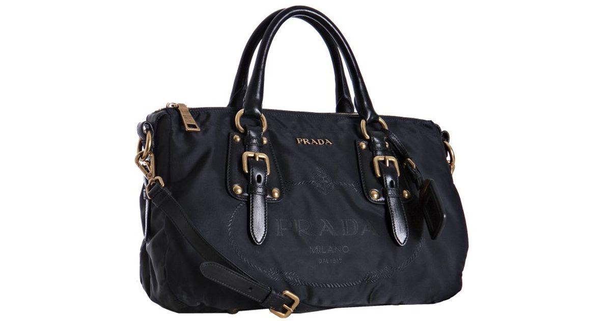 84fe240c23f3 ... discount lyst prada black nylon jacquard logo leather detail bag in  black ebfab 107bc