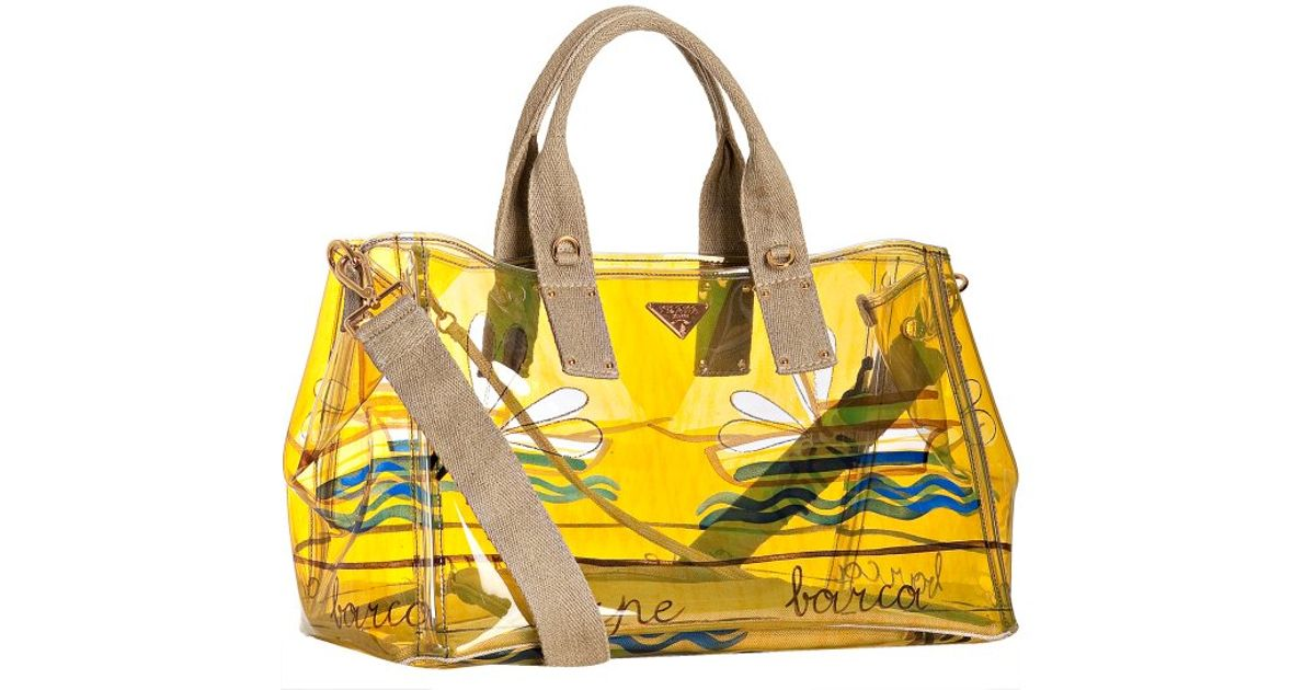 Prada Yellow Sailboat and Bee Clear Printed Pvc Tote in Yellow | Lyst