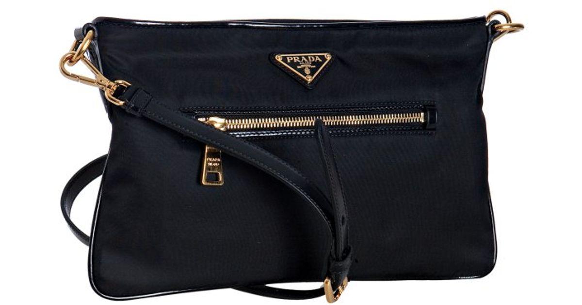 ... best lyst prada black nylon leather trim flat shoulder bag in black  b4a97 95c98 c4b0fbcc36619