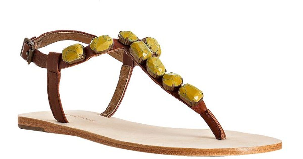 081b2a19ca261d Lyst - Twelfth Street Cynthia Vincent Mustard Stone Jewel Thong Flat Sandals  in Yellow