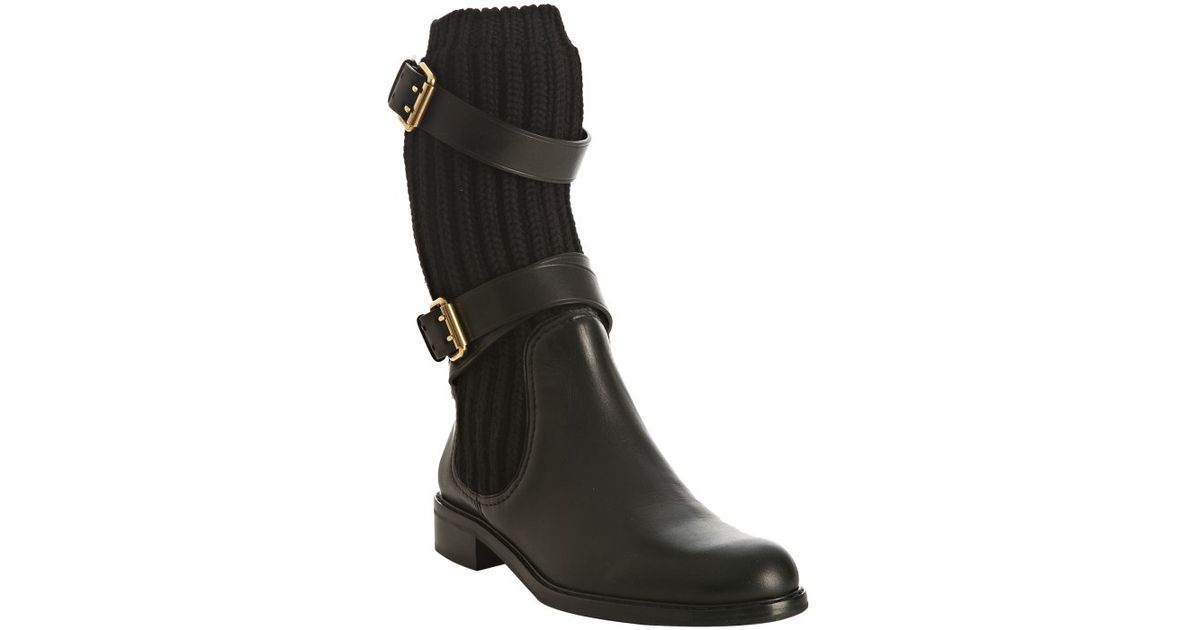 2f2aca5137a Gucci Black Wool Knit and Leather Lockhart Flat Boots in Black - Lyst