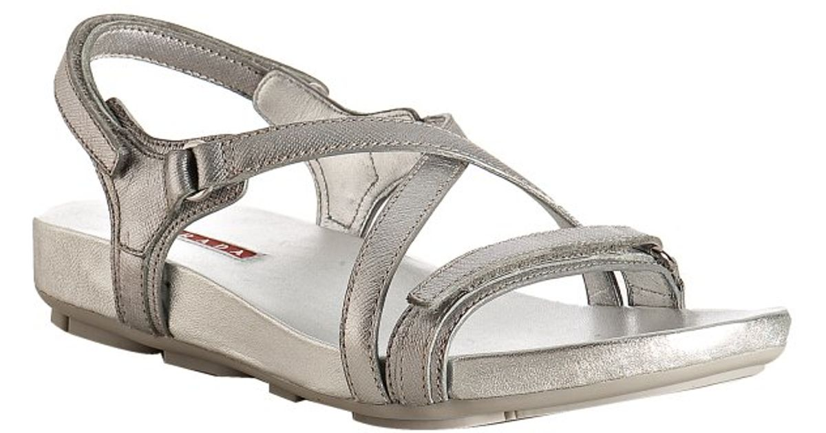 Metallic Sandals Leather Saffiano Lyst Sport Prada Silver cT3lFJK1