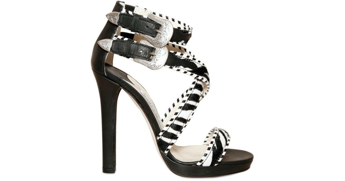 db5cdba953d Lyst - Jimmy Choo Zebra Print Pony Fur Maddox Sandals in Black
