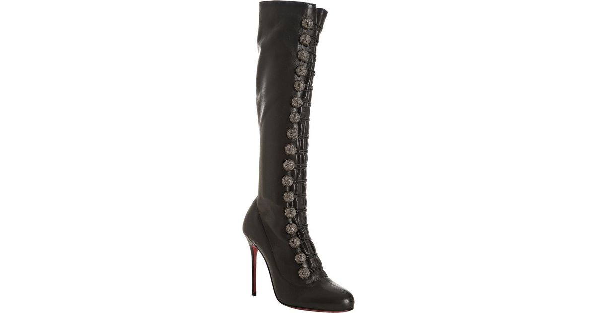 d7638d44a7eb ... discount code for christian louboutin black leather ronfifi alta 100  button detail tall boots in black