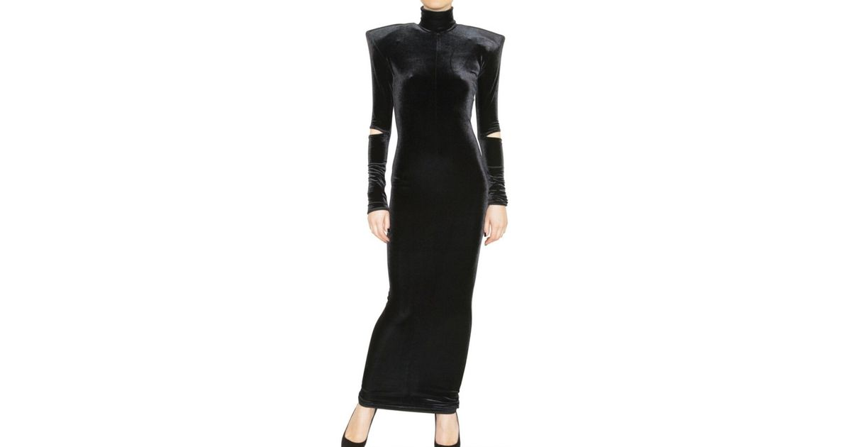 Lyst Hannah Marshall Long Stretch Velvet Dress In Black