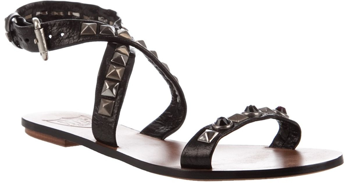 Black Leather Studded Htc Sandals Lyst T1Jcl3FK