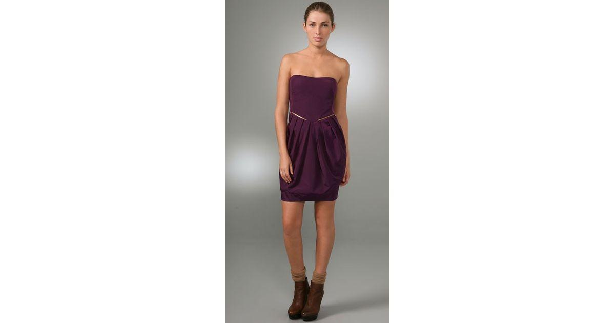 Purple Strapless Dress
