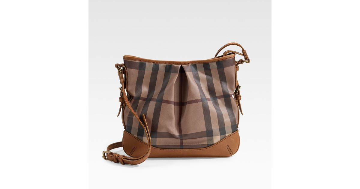 f4047e517f83 Lyst - Burberry Smoke Check Crossbody Bag in Brown