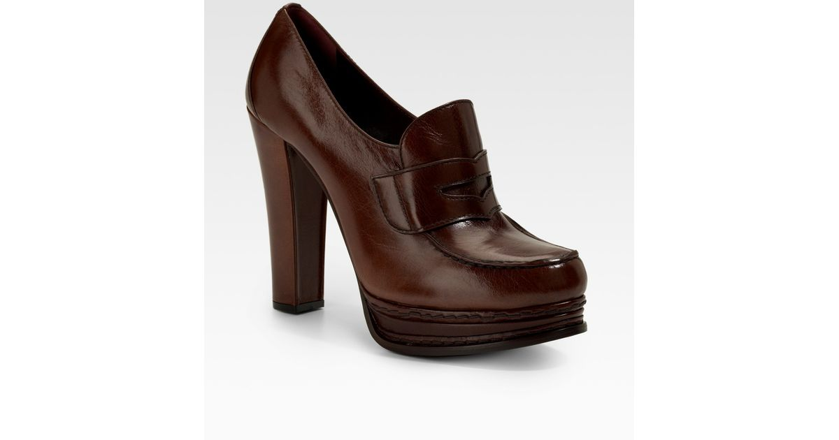 2810f922d433 Lyst - Prada Loafer Platform Pumps in Brown
