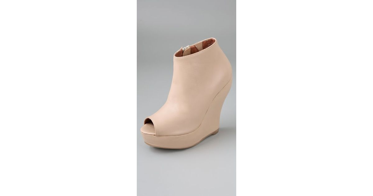 e58e9f0736d Lyst - Jeffrey Campbell Tick Open Toe Booties in Natural