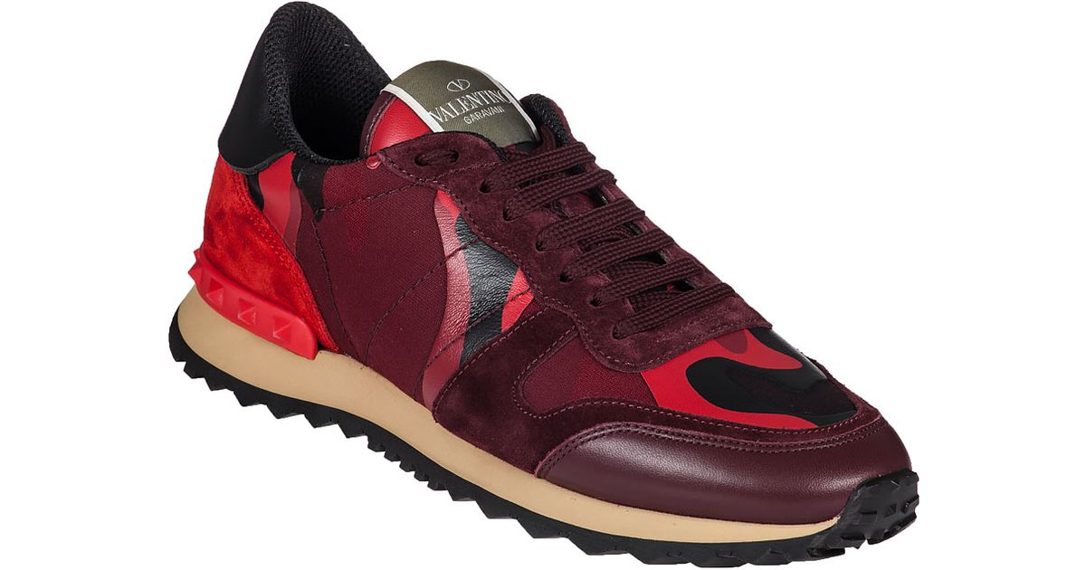Valentino Rock Runner Sneaker Red Camo In Red Red Camo