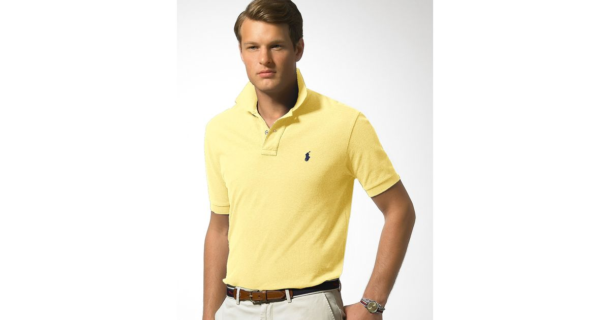20af4e16 ... coupon code for lyst polo ralph lauren classic fit short sleeved cotton  mesh polo in natural