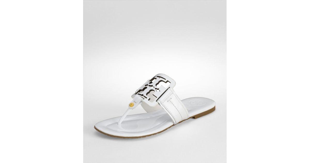 4b052e0b21a Lyst - Tory Burch Patent Square Miller Sandal in White