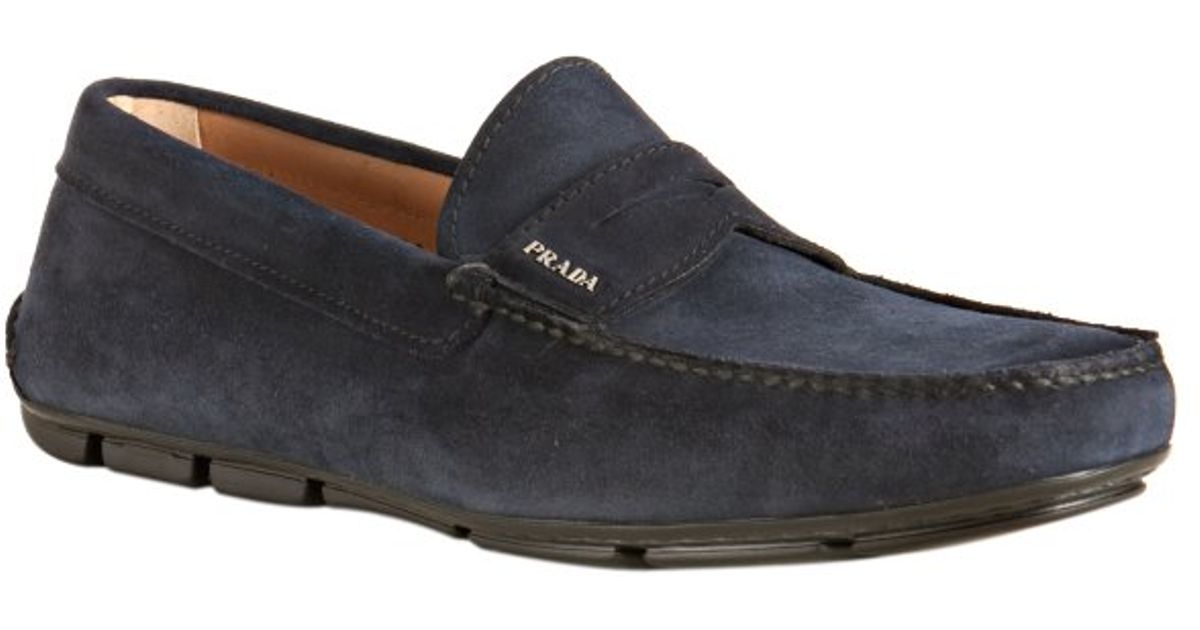 a7e97420e53 Prada Dark Blue Suede Driving Loafers in Blue for Men - Lyst
