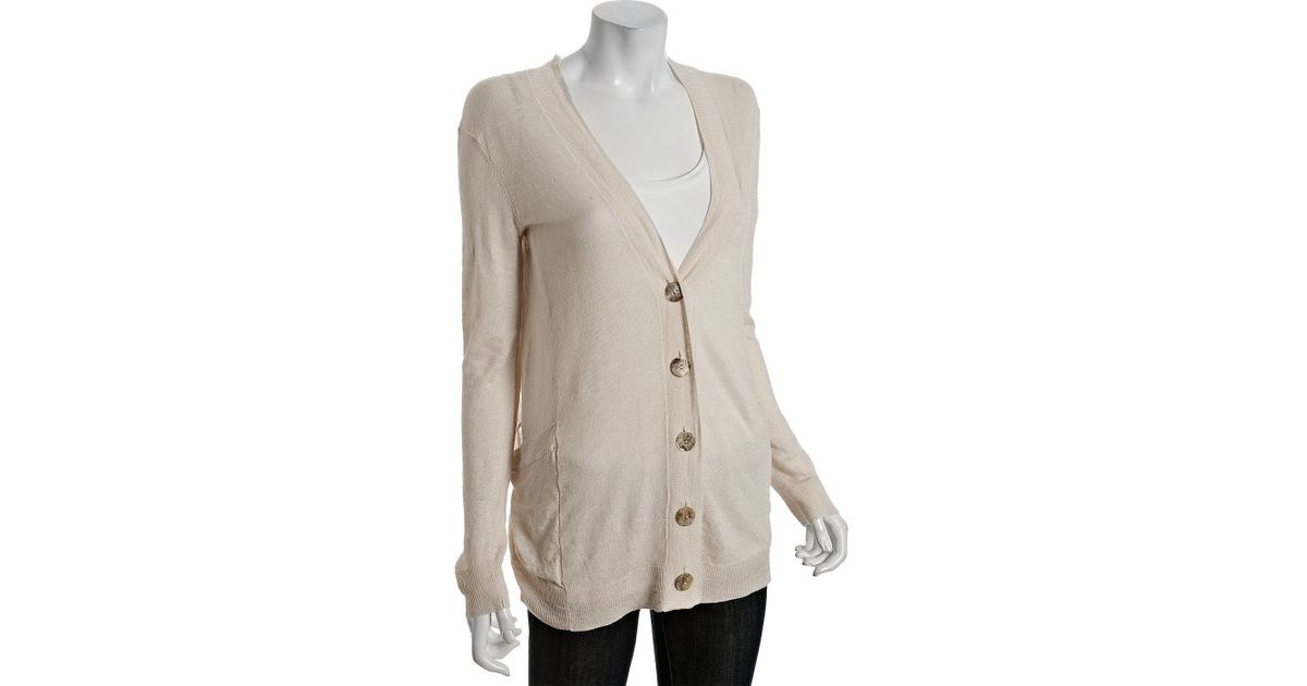 Lyst Inhabit Shell Linen V Neck Boyfriend Cardigan Sweater In Natural