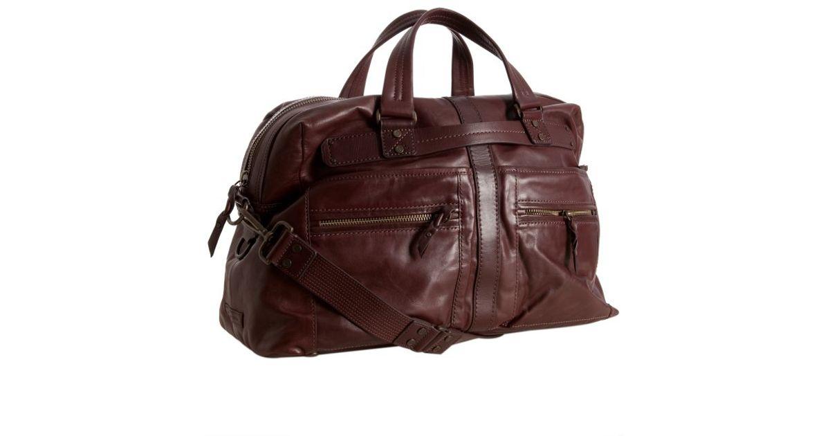 Lyst Andrew Marc Cognac Leather Morgan Weekend Duffel Bag In Brown For Men