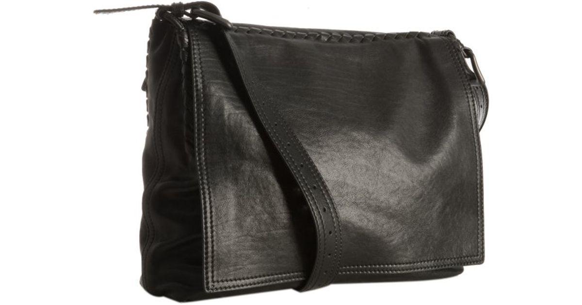 df90b88c4935 Lyst - Bottega veneta Black Leather Basketweave Trim Flap Messenger Bag in  Black for Men