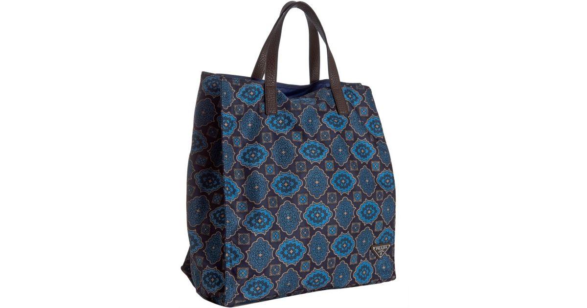 630270272751 ... low price lyst prada blue floral tile print nylon shopping tote in blue  for men cb596