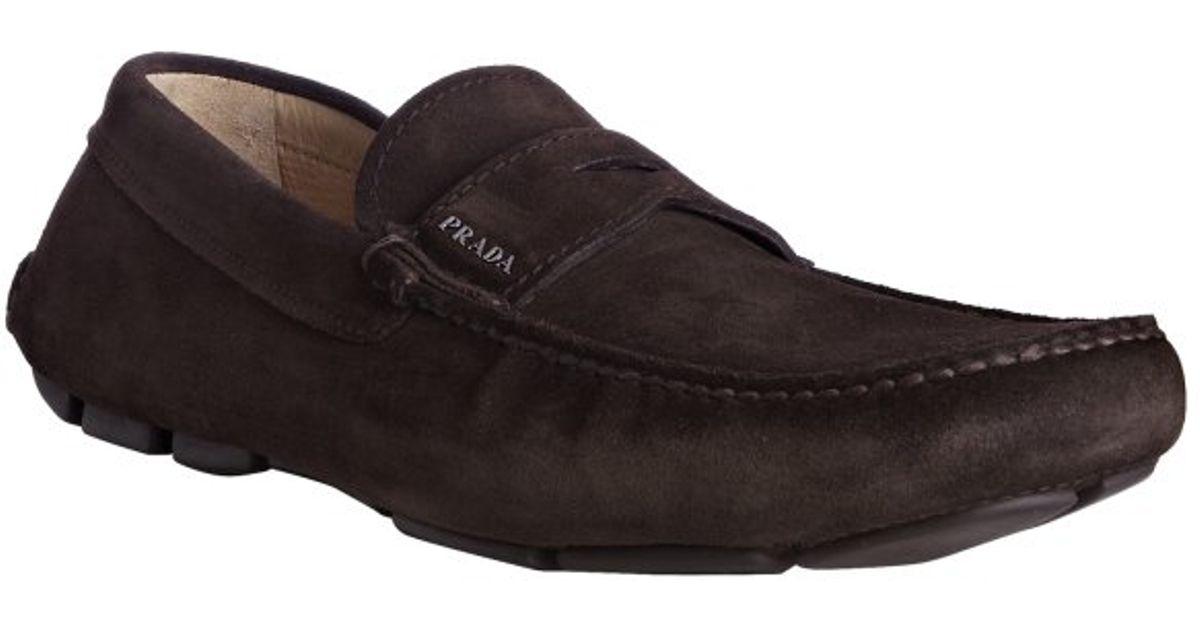 f4b1780be16 Lyst - Prada Dark Brown Suede Logo Detail Penny Loafers in Brown for Men