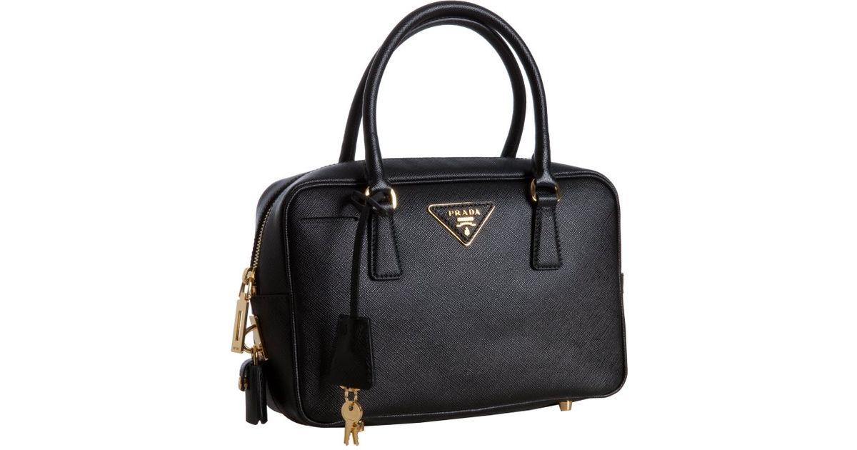... amazon lyst prada black saffiano lux bauletto handbag in black 914d1  6e93a ... ae5bd7f8c86f7
