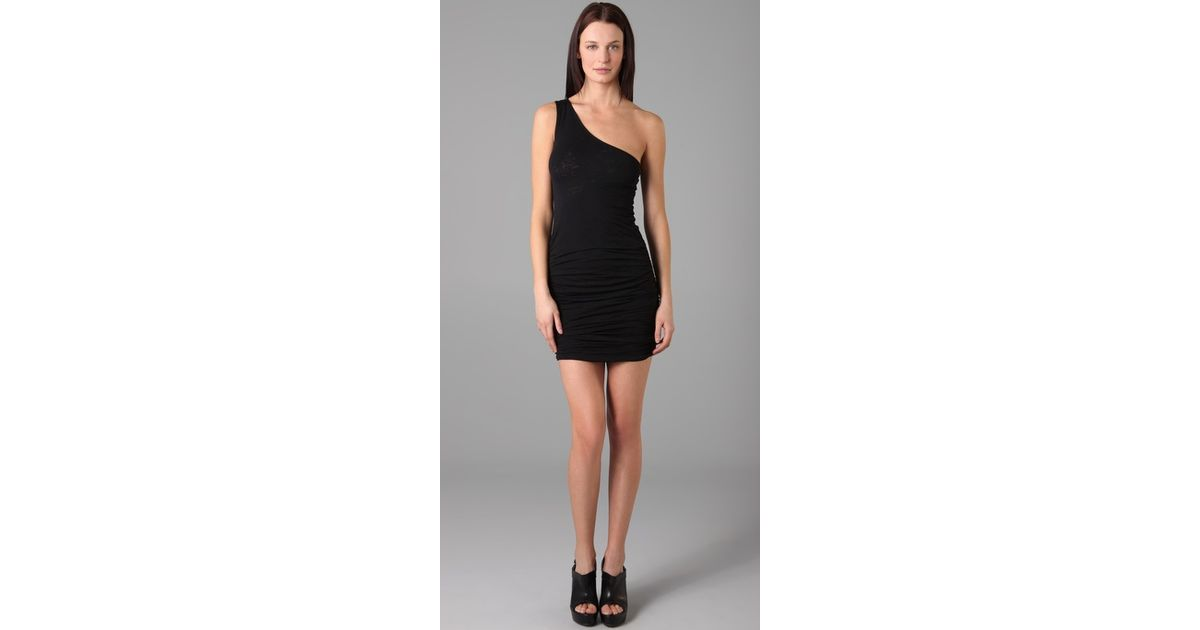 Lyst David Lerner One Shoulder Ruched Dress In Black