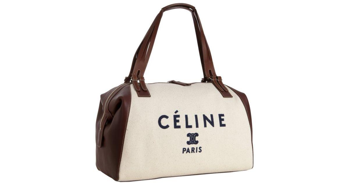 C��line Cream Canvas and Leather Logo Print Satchel in Beige (cream ...