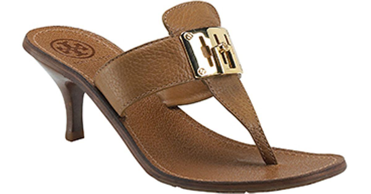 Tory burch Sybill - Tan Kitten Heel Sandal in Brown | Lyst