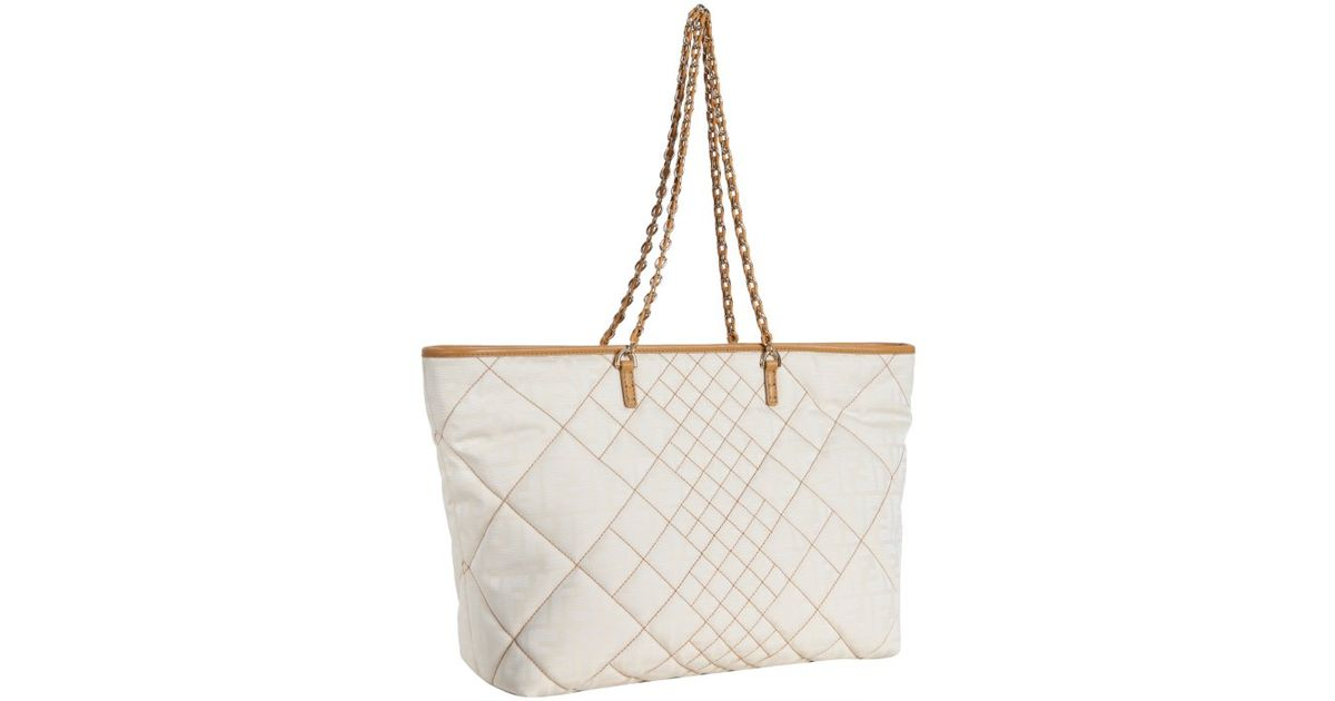 ... leather brown black messenger bag tt1096 7b3af bca7b good lyst fendi  ivory and red zucca canvas quilted roll chain link tote in white bfe07 ... 8abbd5a2fc326