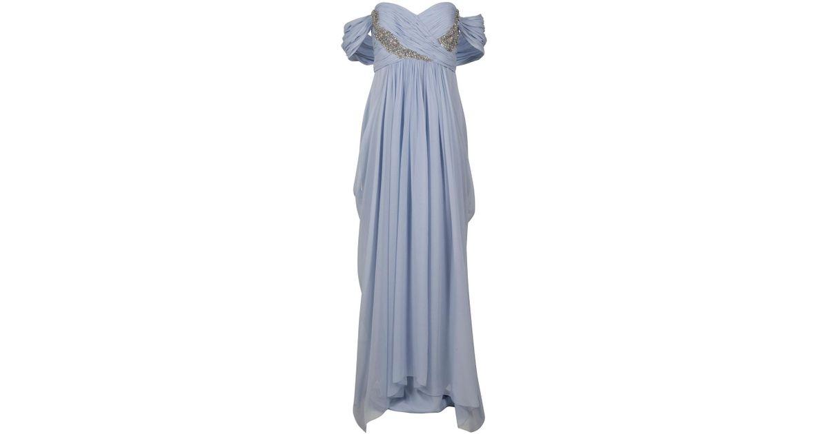 a09ce0af52 Lyst - Marchesa Crystal Bust Dress in Blue