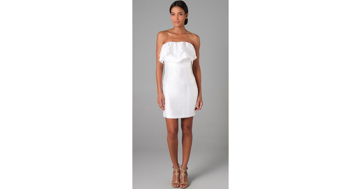 Thread social Short Strapless Double Ruffle Dress in White - Lyst