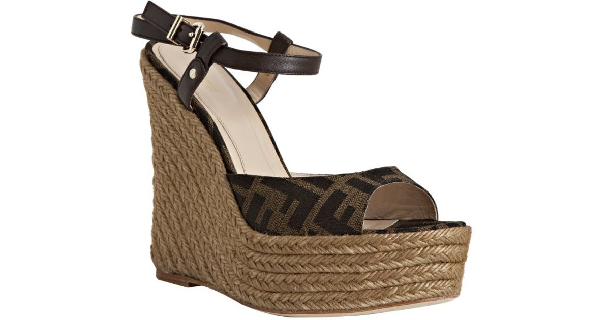 Fendi Canvas Espadrille Wedges