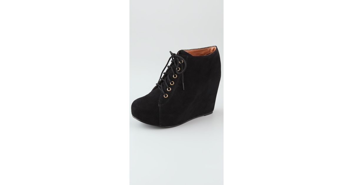 aa6d18106ac661 Lyst - Jeffrey Campbell 99 Lace Up Wedge Booties in Black