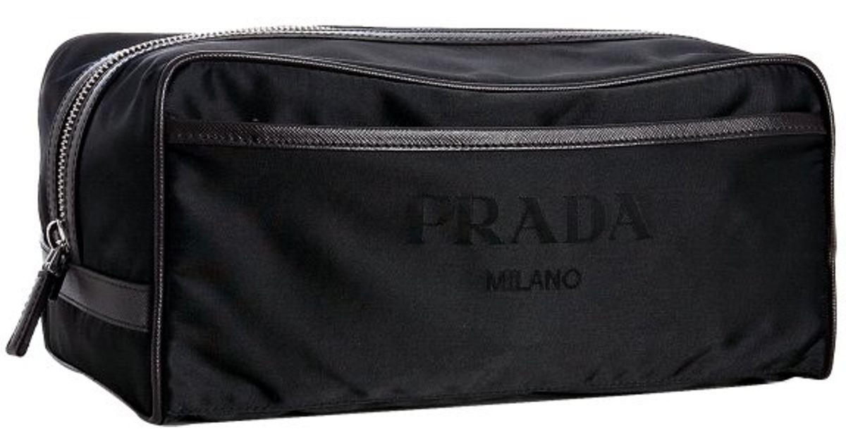 Prada Brown Trimmed Black Nylon Dopp Kit in Black for Men (brown ...
