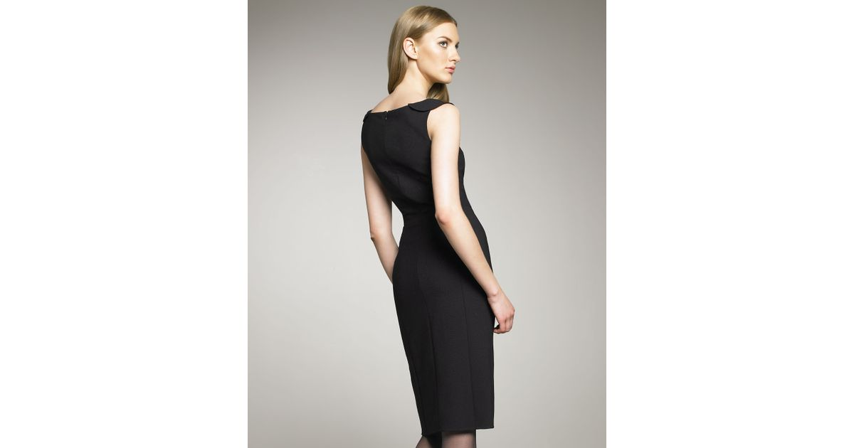 Lyst Oscar De La Renta Ruffle Neck Stretch Wool Dress In Black