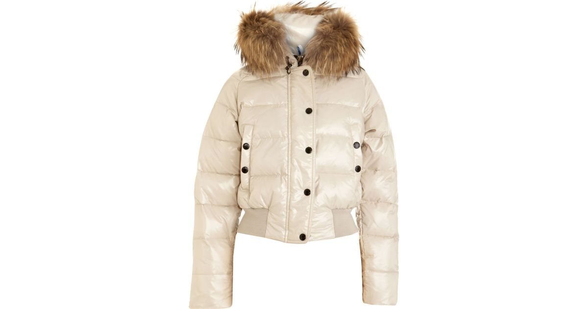 e536e39141f Moncler Alpin Fur Trim Jacket in White - Lyst
