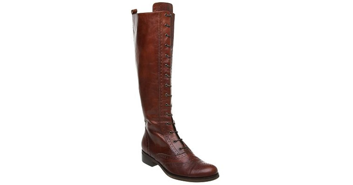 Pied A Terre Pelite Lace Up Knee High Boots Tan In Brown