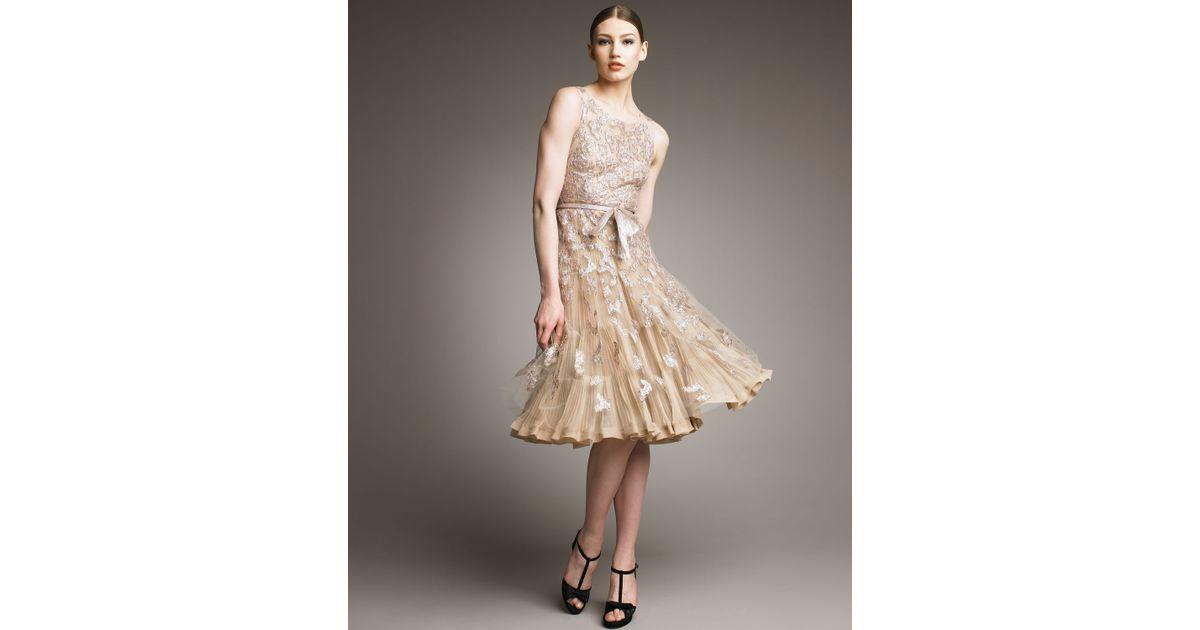 Lyst Oscar De La Renta Metallic Embroidered Cocktail Dress In Natural