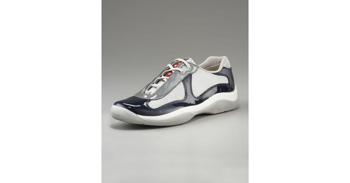 126c6f738c8d ... wholesale lyst prada patent leather sneaker navy in blue for men 81494  43c9f