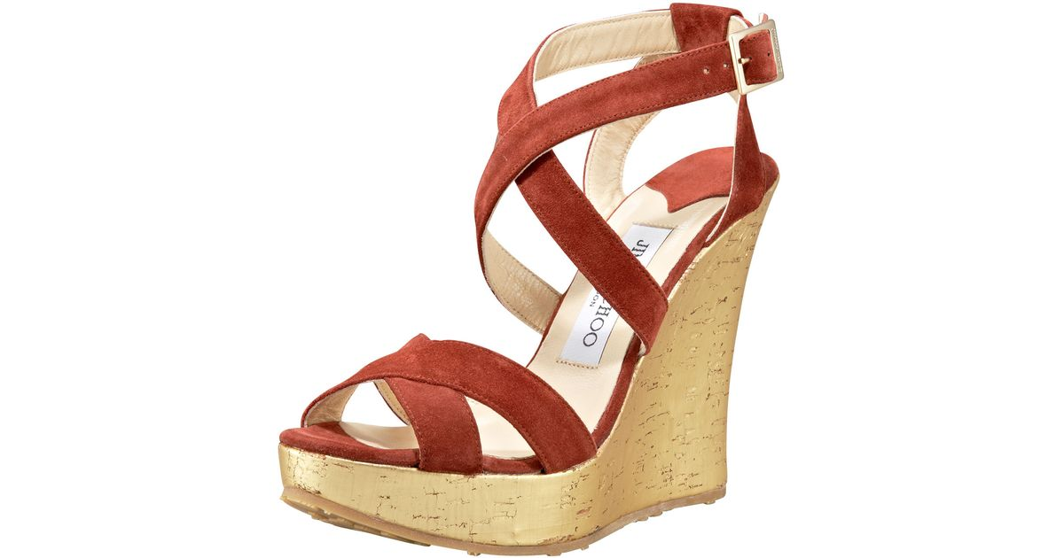 4808070fed649 get lyst jimmy choo red and gold suede perfect metallic cork wedge sandals  in brown 9dbe7