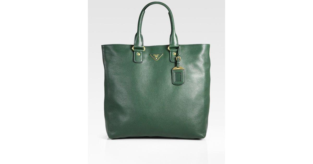 a8790fbab687 Lyst - Prada Vitello Daino Shopping Tote Bag in Green