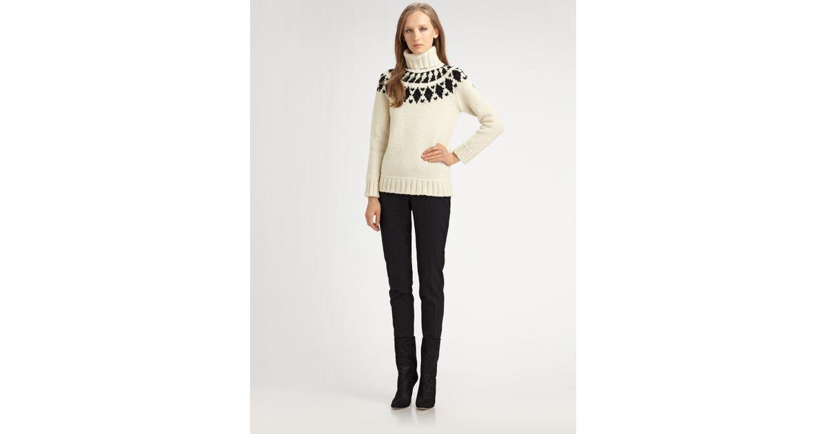 Lyst - Moncler Wool Fair Isle Turtleneck Sweater in White
