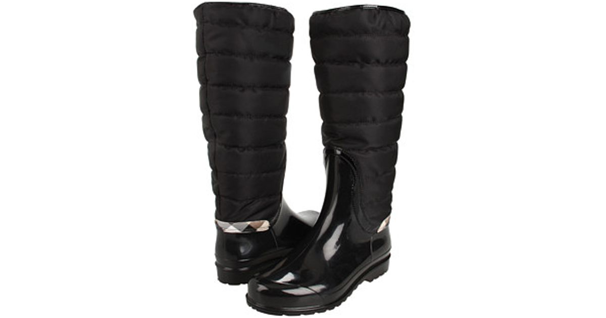 Lyst - Burberry Quilted Patent Trim Rain Boot in Black : burberry quilted rain boots - Adamdwight.com