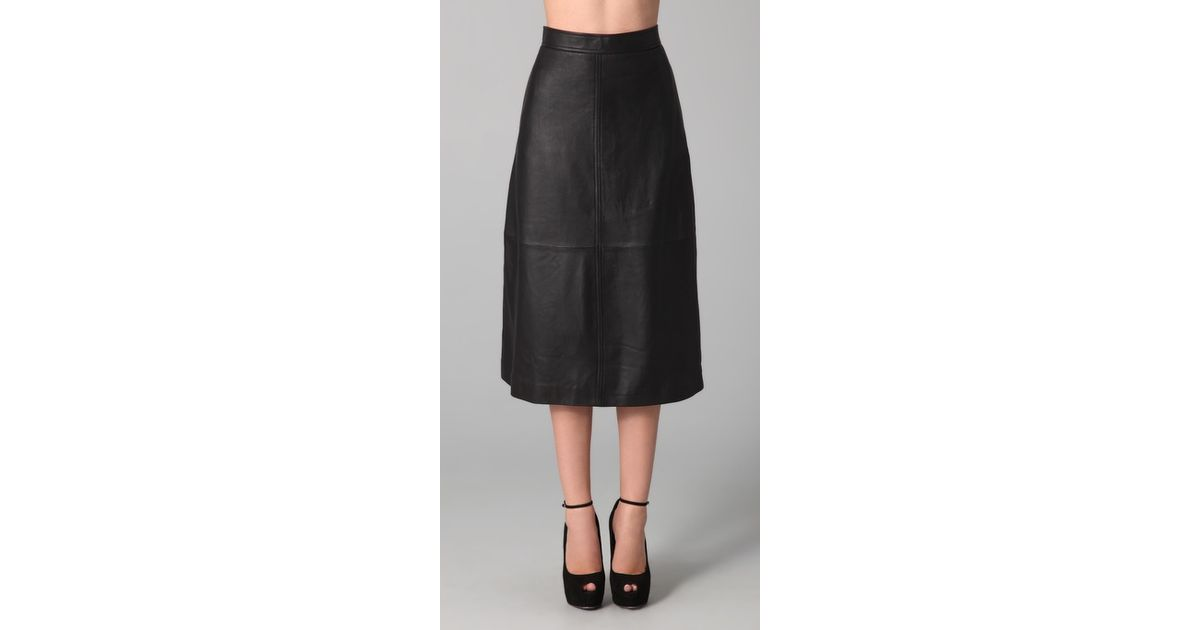 Raoul Leather Midi Skirt in Black | Lyst