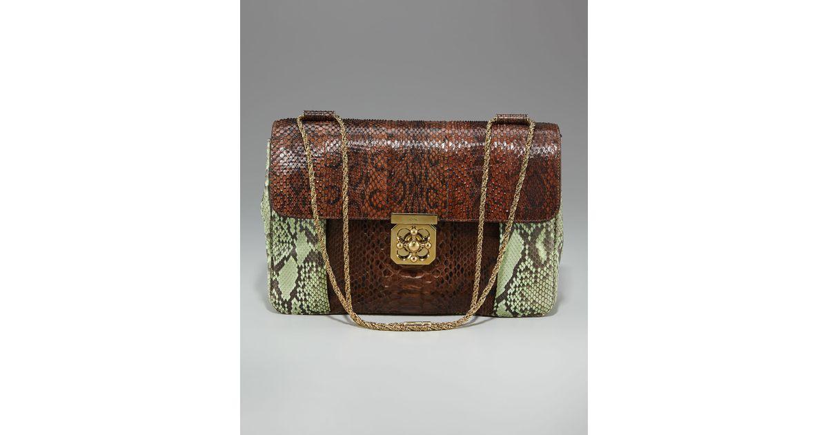 Chlo�� Elsie Jumbo Shoulder Bag, Python Colorblock in Brown ...