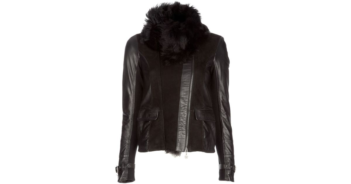 e2f90749a66 Patrizia Pepe Leather and Shearling Jacket in Black - Lyst