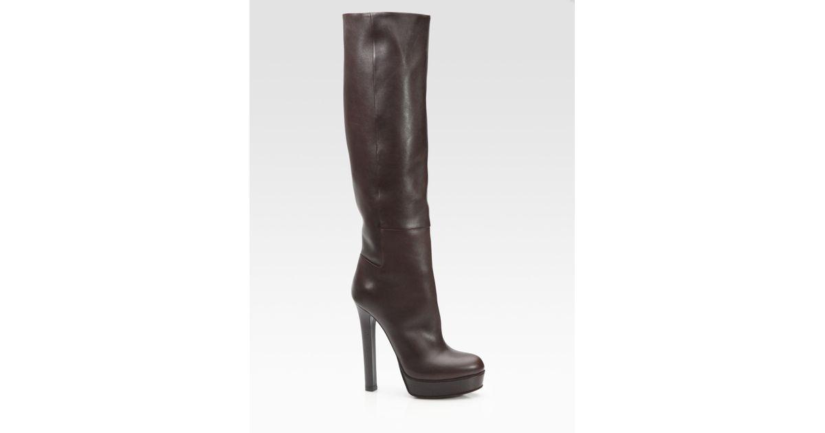 6bd44da379b Lyst - Gucci Alexa Leather Knee-High Platform Boots in Brown