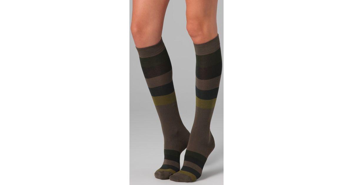 778f3027f Lyst - Falke Block Stripes Knee High Socks in Green