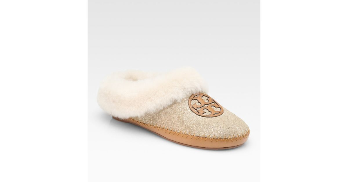 da0ad690539 Lyst - Tory Burch Coley Metallic Powder Suede and Shearling Slippers in  Natural