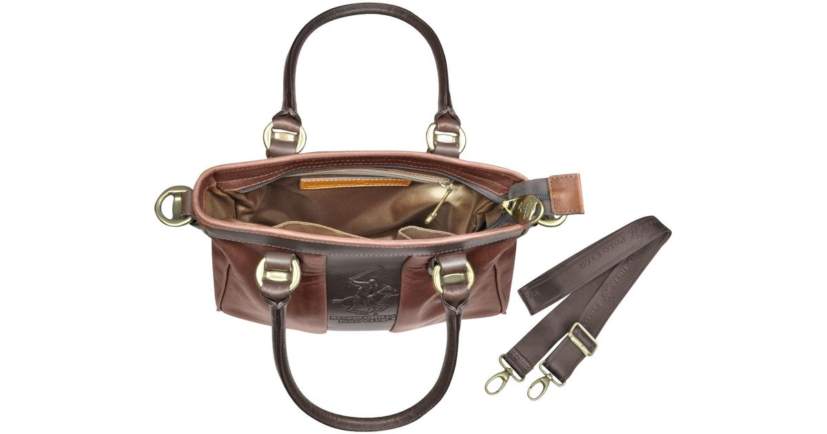 f29c20435480 Lyst - Beverly Hills Polo Club Two-tone Brown Logo Leather Tote Bag in Brown